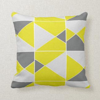 Yellow Grey Pattern Throw Pillow