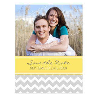 Yellow Grey Photo Save the Date Wedding Postcards