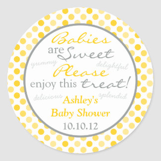 Yellow Grey Polka Dot Candy Buffet Baby Shower Classic Round Sticker