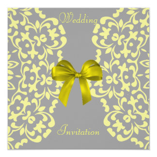 Yellow Grey Pretty Lace Wedding Invitations