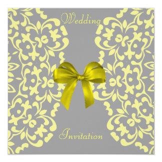 Yellow Grey Pretty Lace Wedding Invitations