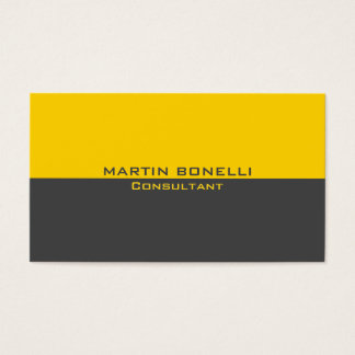Yellow Grey Special Unique Plain Clean Business Card