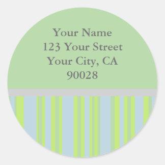 yellow grey stripes Address Labels Classic Round Sticker