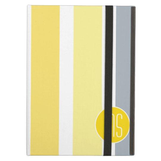 Yellow Grey Stripes Monogram iPad Air Cases