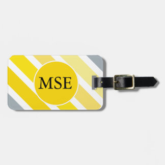 Yellow Grey Stripes Travel Bag Tag