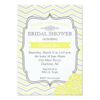 "Yellow & Grey Vintage  Bridal shower Invitation 5"" X 7"" Invitation Card"