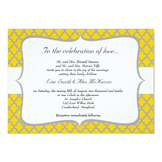 Yellow & Grey Wedding Invitation