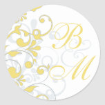 Yellow, Grey, White Abstract Floral Envelope Seal Sticker