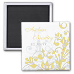 Yellow, Grey, White Abstract Floral Wedding Magnet