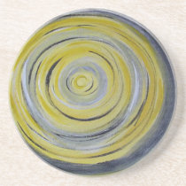 yellow grey white circles coaster