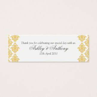 Yellow Grey White Damask Wedding Favour Tags
