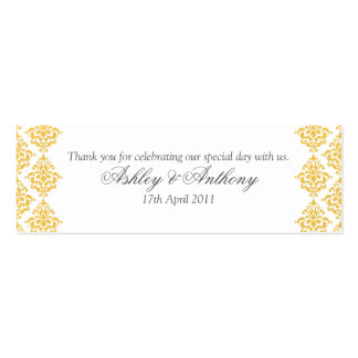 Yellow Grey White Damask Wedding Favour Tags Double-Sided Mini Business Cards (Pack Of 20)