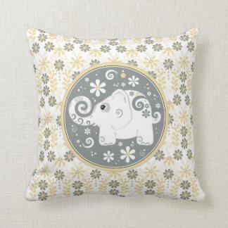 Yellow Grey White Elephant Daisy Floral Pillow