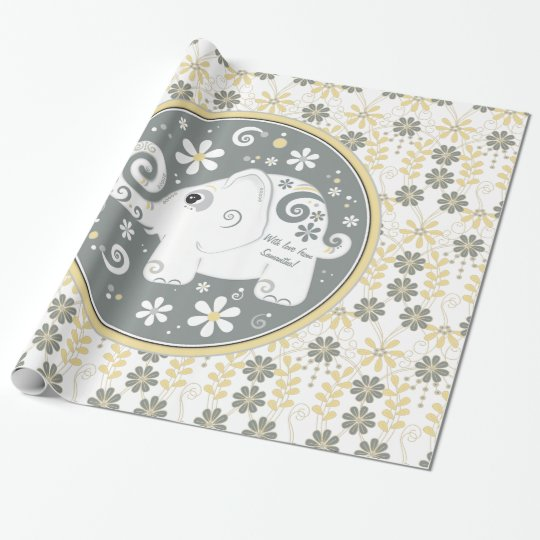 Yellow grey white fancy elephant floral wrapping paper