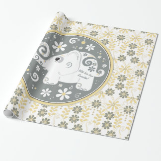 Yellow grey white fancy elephant floral gift wrapping paper