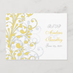Yellow, Grey, & White Floral RSVP Postcard