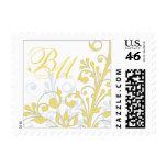 Yellow, Grey, White Floral Wedding Postage
