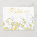 Yellow, Grey, & White Wedding Table Number Card