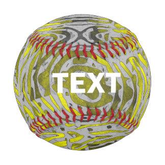 Yellow Grey Zebra Pattern Baseball