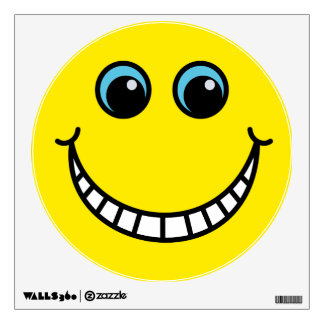 Yellow Grinning Smiley Face Wall Sticker