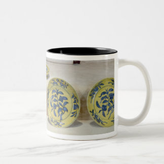 Yellow ground dishes painted in underglaze Two-Tone coffee mug