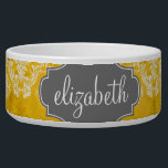 """Yellow Grunge Damask Pattern with Custom Text Bowl<br><div class=""""desc"""">A vintage pattern with a chalkboard and lace design. Look closely to the flowers and leaves.A trendy design with jewel tone colors and elegance. Items are easier to customize when you replace all text and photos first. If your art still needs to be adjusted, click on the Customize This button....</div>"""