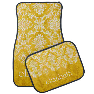 Yellow Grunge Damask Pattern with Custom Text Car Mat