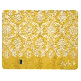 Yellow Grunge Damask Pattern with Custom Text Journal