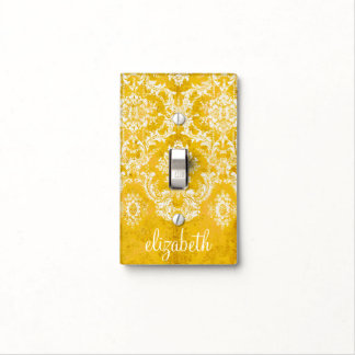 Yellow Grunge Damask Pattern with Custom Text Light Switch Cover