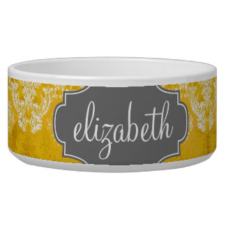 Yellow Grunge Damask Pattern with Custom Text Dog Bowl