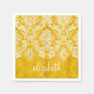 Yellow Grunge Damask Pattern with Custom Text Disposable Napkins