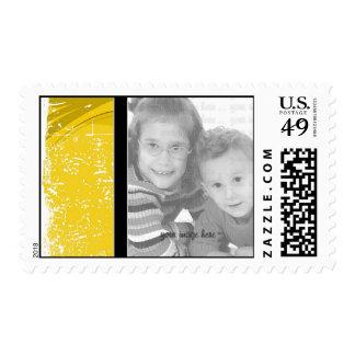 Yellow Grunge Photo Template Postage