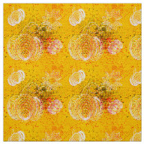 Yellow grunge rustic halftones with pumpkins fabric