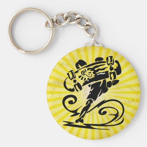 Yellow Grunge Skateboard Basic Round Button Keychain