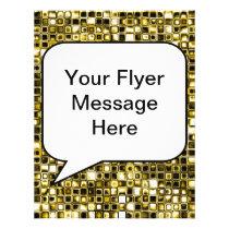 Yellow Grunge Textured Grid Pattern Flyer