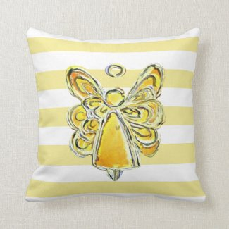 Yellow Guardian Angel Art Striped Pillow