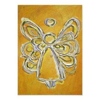 Yellow Guardian Angel Custom Invite or Invitation