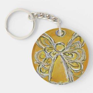 Yellow Guardian Angel Custom Keychain