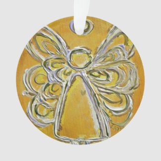 Yellow Guardian Angel Gift Holiday Ornament