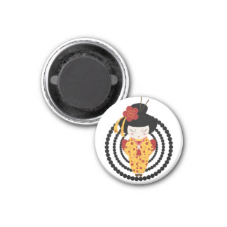Yellow Gueixa 1 Inch Round Magnet