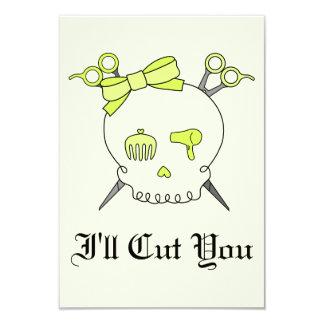 Yellow Hair Accessory Skull -Scissor Crossbones #2 Custom Invitation