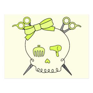 Yellow Hair Accessory Skull -Scissor Crossbones 2 Postcard