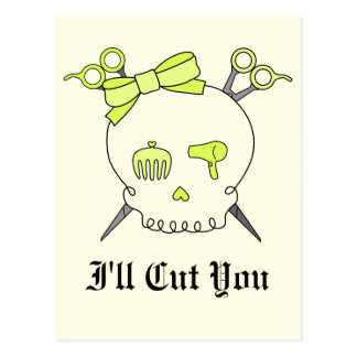 Yellow Hair Accessory Skull -Scissor Crossbones #2 Postcard