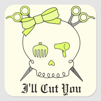 Yellow Hair Accessory Skull -Scissor Crossbones #2 Square Sticker