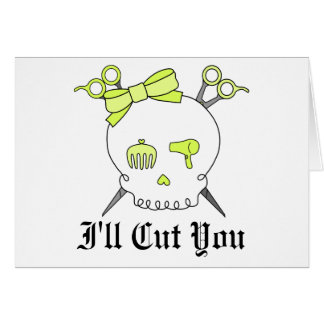 Yellow Hair Accessory Skull -Scissor Crossbones Card