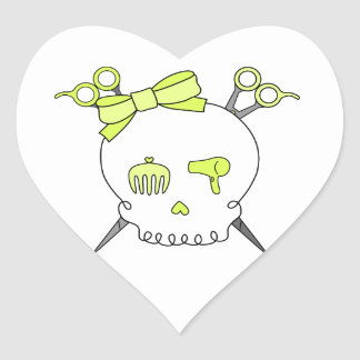 Yellow Hair Accessory Skull -Scissor Crossbones Heart Sticker