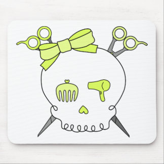 Yellow Hair Accessory Skull -Scissor Crossbones Mouse Pad
