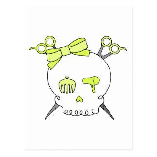 Yellow Hair Accessory Skull -Scissor Crossbones Postcard