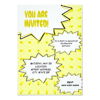 Yellow Halftone Pop Art Comic Inspired Invitation