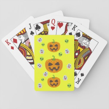 Halloween Themed Yellow Halloween Emoji Playing Cards